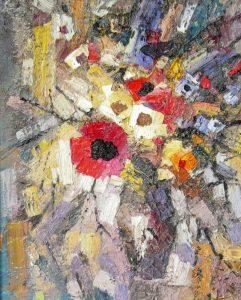 Иван Агеев. Цветы на светлом фоне. 50х40 см.