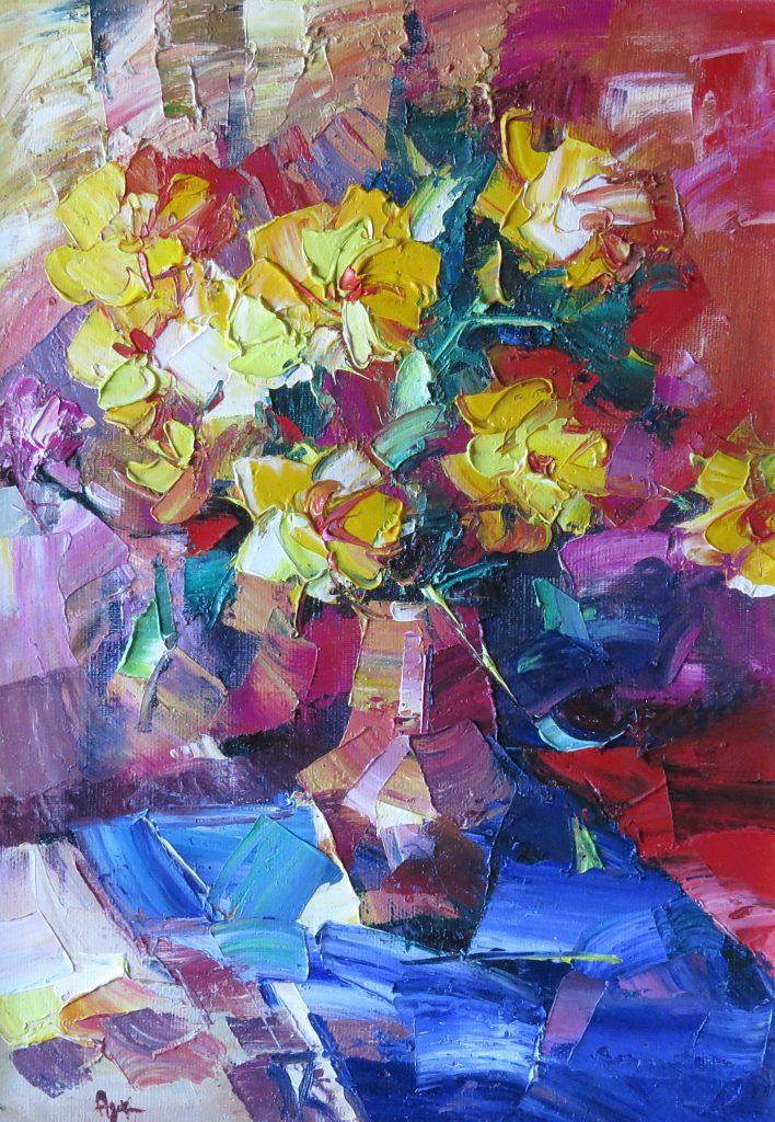 Желтые цветы 70х50 40