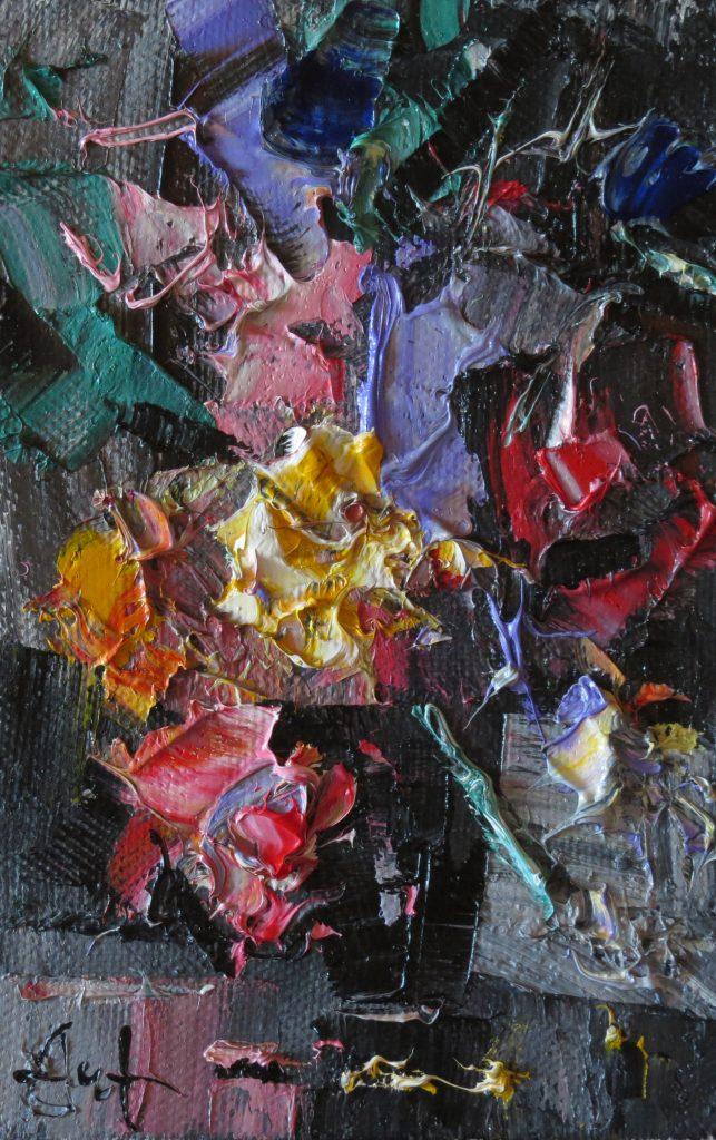 Цветы в черной вазе 30х20 20